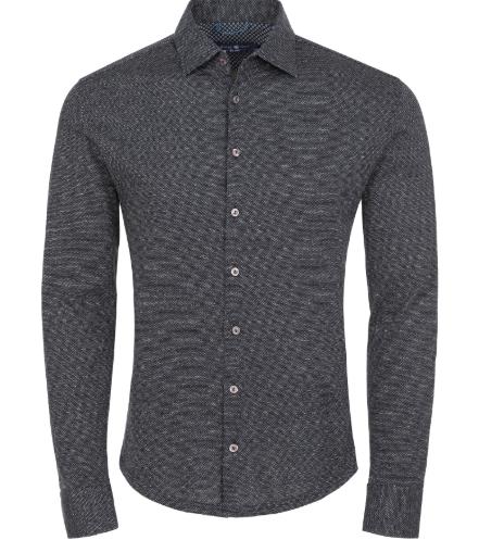 Stone Rose Black Jacquard Knit Long Sleeve Shirt