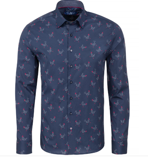 Stone Rose Navy Chicken Print Long Sleeve Shirt