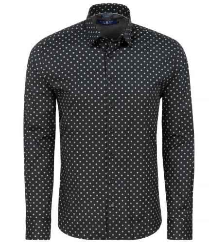 Stone Rose Black Polka Dot Print Long Sleeve Shirt