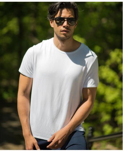 Stone Rose White Crew Neck Modal T-Shirt