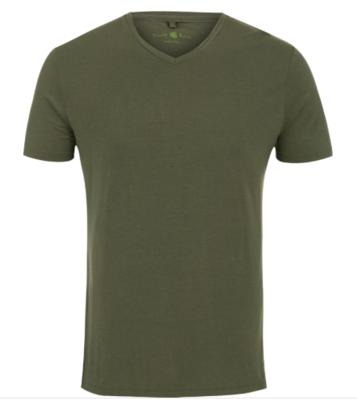 Stone Rose Khaki V-Neck Modal T-Shirt