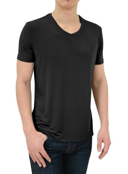 Stone Rose Black V-Neck Modal T-Shirt