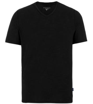 Stone Rose Black Light Flame Knit  V-Neck T-Shirt