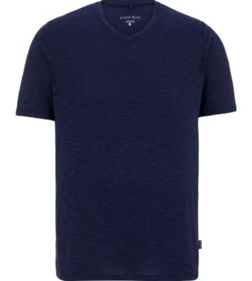 Stone Rose Dark Navy Flame Knit  V-Neck T-Shirt