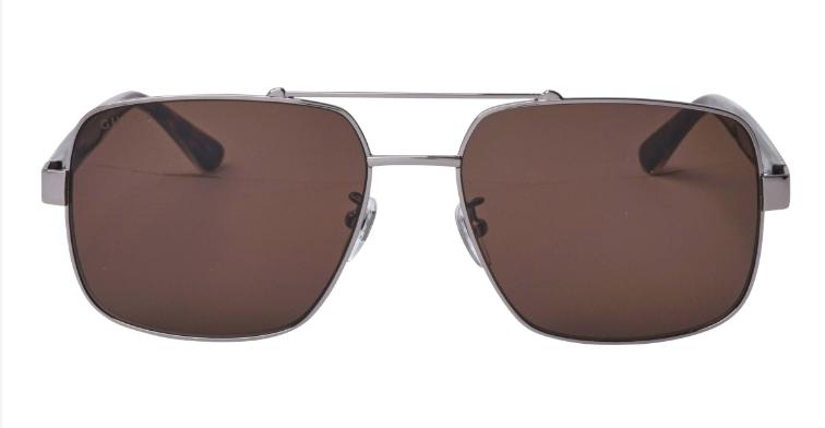 Gucci Men's Ruthenium Navigator Sunglasses With Green Lens
