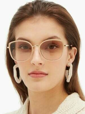 Gucci Oversized Cat Eye Sunglasses With Light Grey Lens