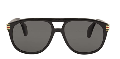 Gucci Black Men's Acetate Pilot Sunglasses with Grey Lens
