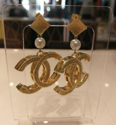 Gold Interlocking CC With Rhinestones Drop Earrings