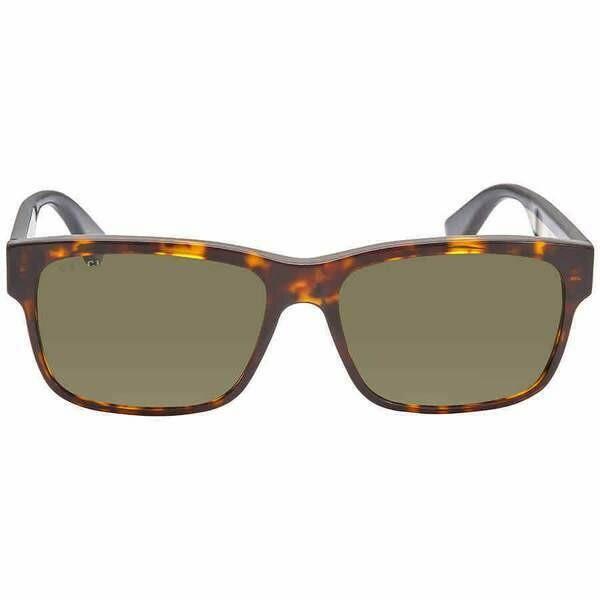 Gucci Tortoise Shell Rectangular Sunglasses With Green Lens