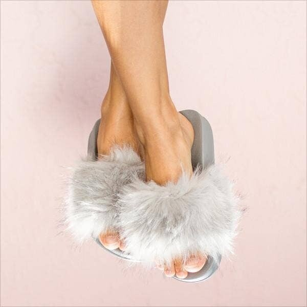 Face Plant Dreams Fuzzy Slippers in Grey