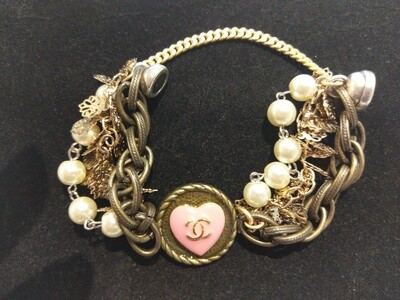 Vintage Chanel Button Bracelet With Multi-Strands And Pink Heart Button