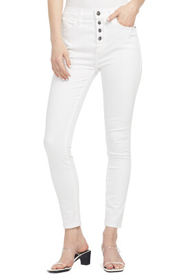 Frame Le High Skinny Jean With Exposed Buttons in Blanc