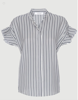 Frame Silk Flounce Short Sleeve Blouse in Namu