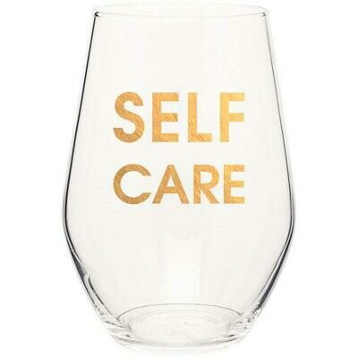 Chez Gagne` Self Care Gold Foil Stemless Wine Glass