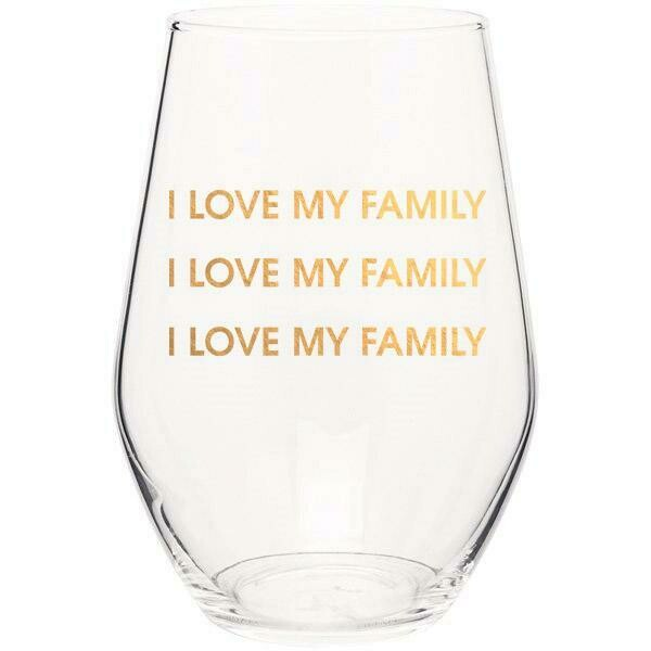 Chez Gagne I Love My Family Gold Foil Stemless Wine Glass