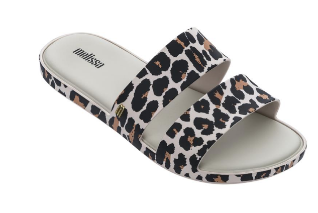 Melissa Color Pop AD Slide in White Leopard