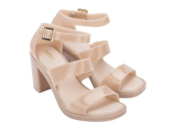 Melissa Model AD Block Heel Platform Sandal in Beige Marzipan