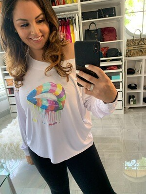 Jackie Z Rainbow Lips Long Sleeve Tee Shirt in White