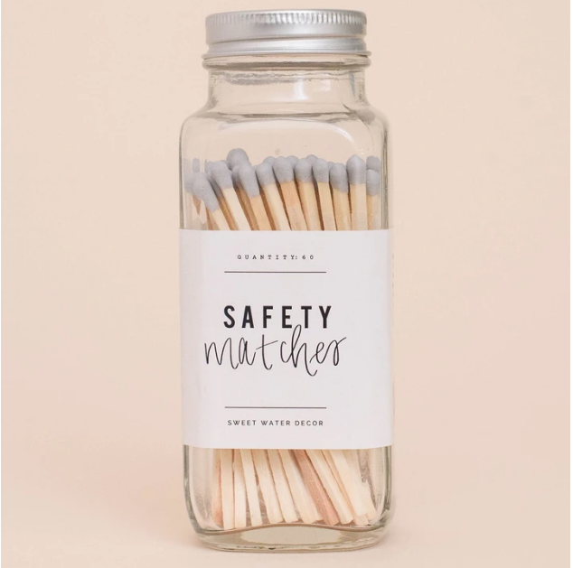 SWD Grey Safety Matches In A Glass Jar