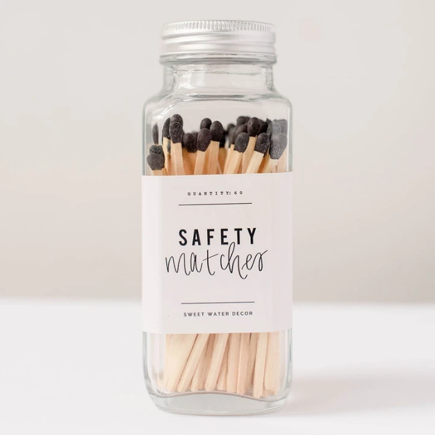 SWD Black Safety Matches In A Glass Jar