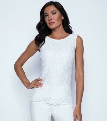 Frank Lyman Lace Top in White