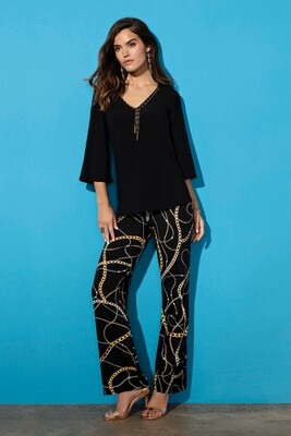Frank Lyman Knit Pant In Black and Gold