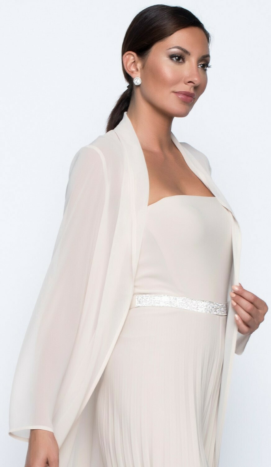 Frank Lyman Woven Long Duster In Champagne