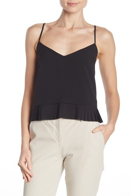 French Connection Solid Crepe Pleated Tank Top in Black