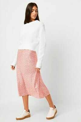 French Connection Alessia Printed Satin Skirt in Capri Blush