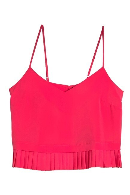 French Connection Solid Crepe Pleated Tank Top in Azelea