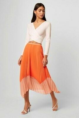 French Connection Ali Light Neon Pleated Skirt in Orange and Papaya
