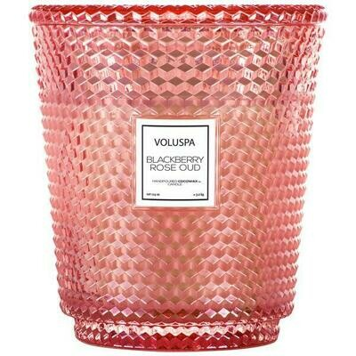 Voluspa Blackberry Rose Oud Hearth Candle With Lid/Tray