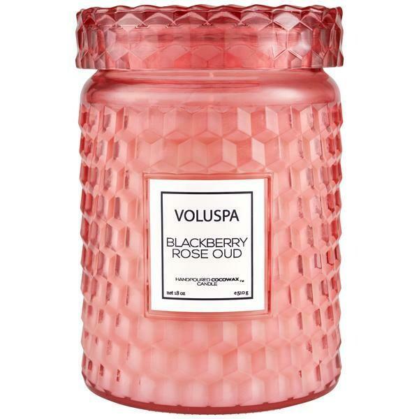 Voluspa Blackberry Rose Oud Large Glass Jar Candle