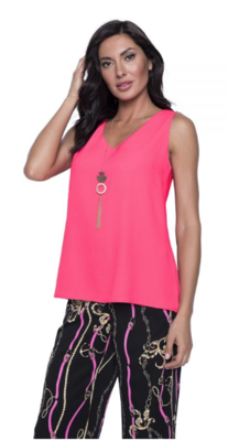 Frank Lyman Chiffon Top with Necklace in Hot Pink