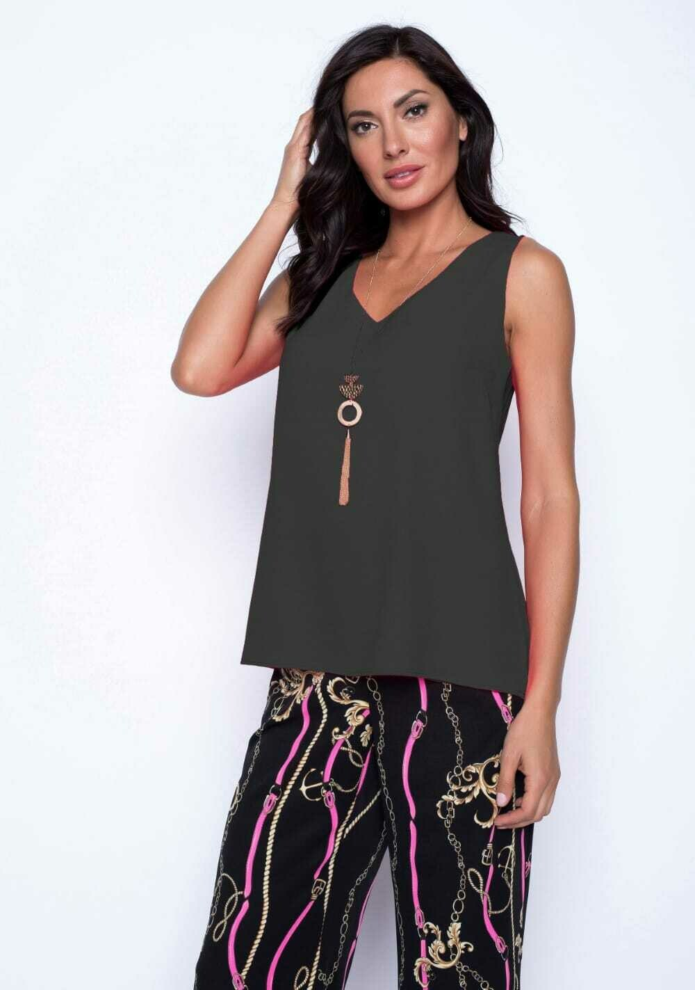 Frank Lyman Chiffon Top With Necklace in Black