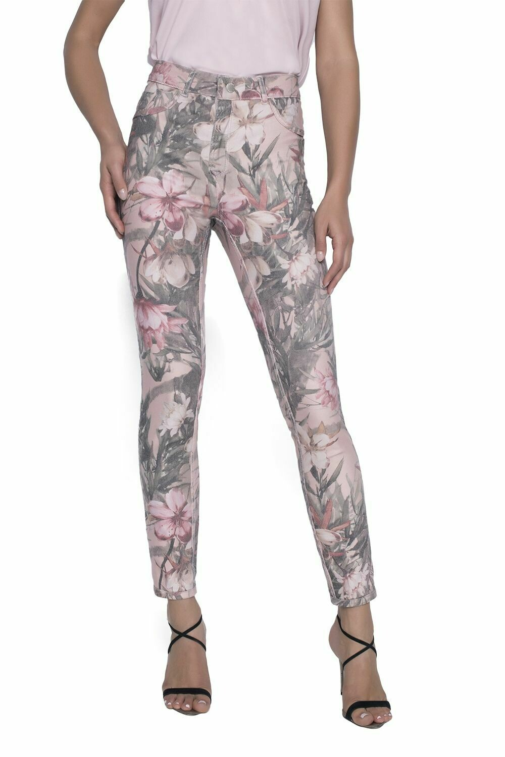 Frank Lyman Woven Pant In Blush Floral