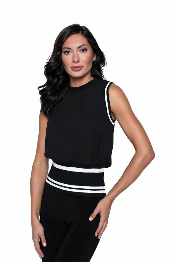 Frank Lyman Knit Sleeveless Sweater in Black and White