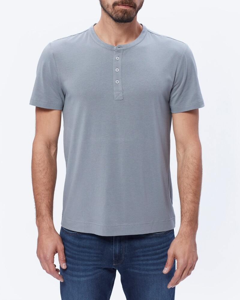Paige Harwood Short Sleeve Henley in Dark Grey
