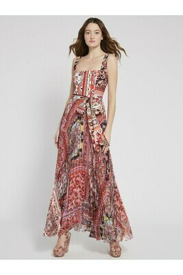 Alice & Olivia Deonna Pleated Dress W/ Tie Waist In Euphoria