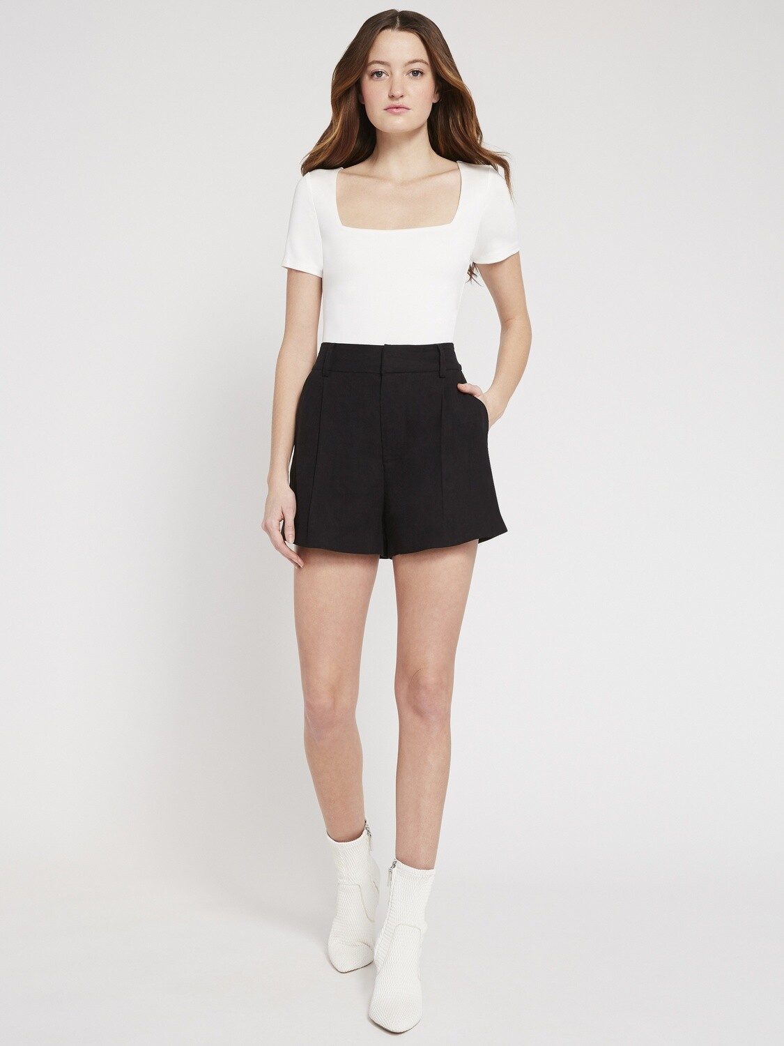 Alice & Olivia Eric High-Waisted Shorts In Black