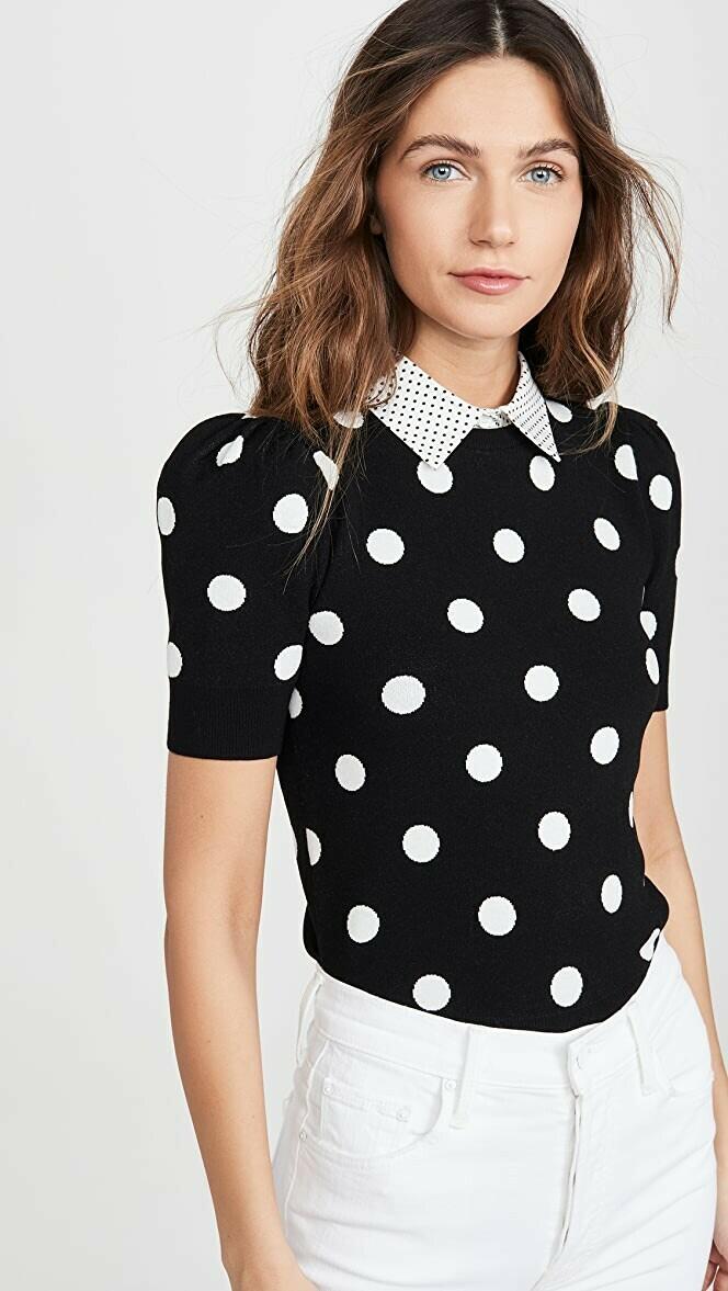Alice & Olivia Brady Collared Puff Sleeve Sweater In Black & White