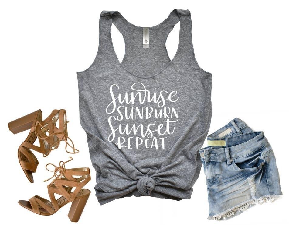Sunrise, Sunburn, Sunset, Repeat Tank in Heather Grey