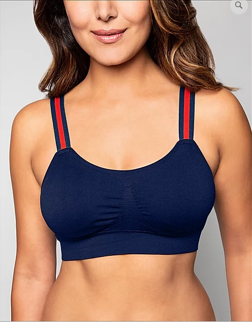 Strap-Its Navy Bra With Navy and Red Stripe Straps