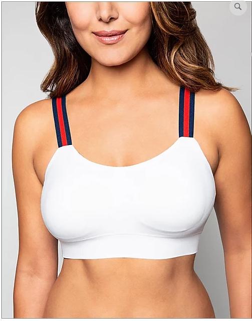 Strap-Its Navy Stripe Bra in White