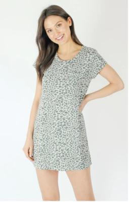 Six Fifty Tee Shirt Dress In Grey Leopard