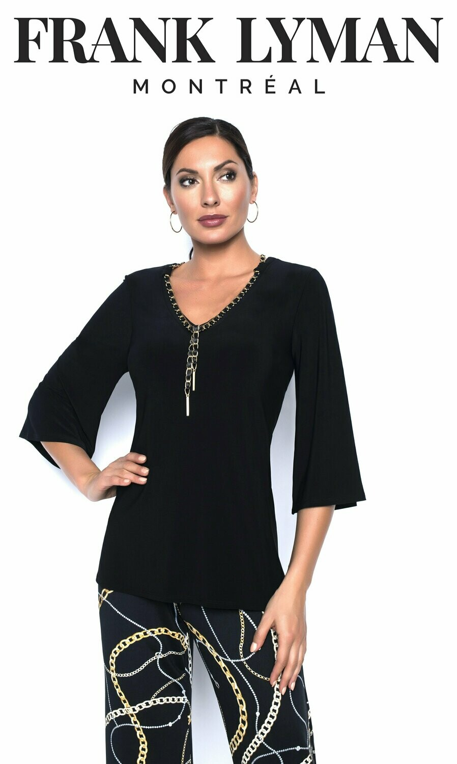 Frank Lyman Knit Top In Black And Gold