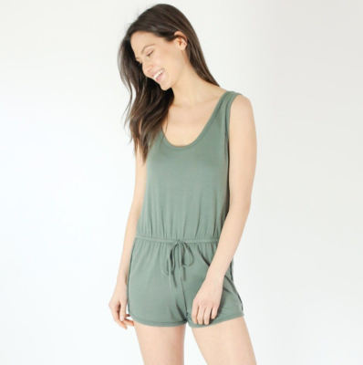 Six Fifty Tank Romper In Sage