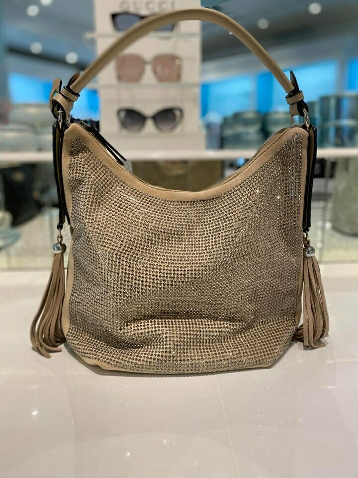 Frank Lyman Hobo Bag In Beige And Silver