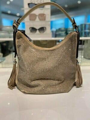 Frank Lyman Hobo Bag In Beige And Silver