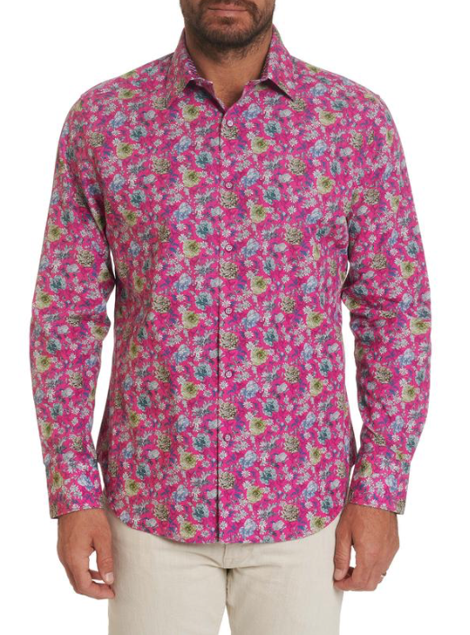 Robert Graham Bowmont Gardens L/S Woven Shirt In Magenta
